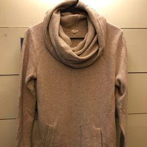J Crew camel funnel neck sweatshirt sz M